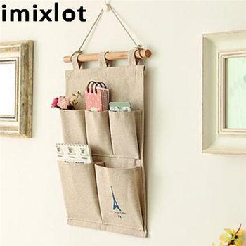 Imixlot algodón Lino caqui bolsillo almacenamiento bolsa puerta pared colgante organizador Multi-recipiente de capas suministros para el hogar