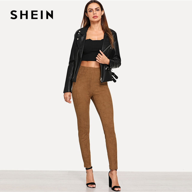 SHEIN Brown Elegant Office Lady Solid Suede Skinny Leggings 2018 Autumn Highstreet Workwear Women Pants Trousers 4