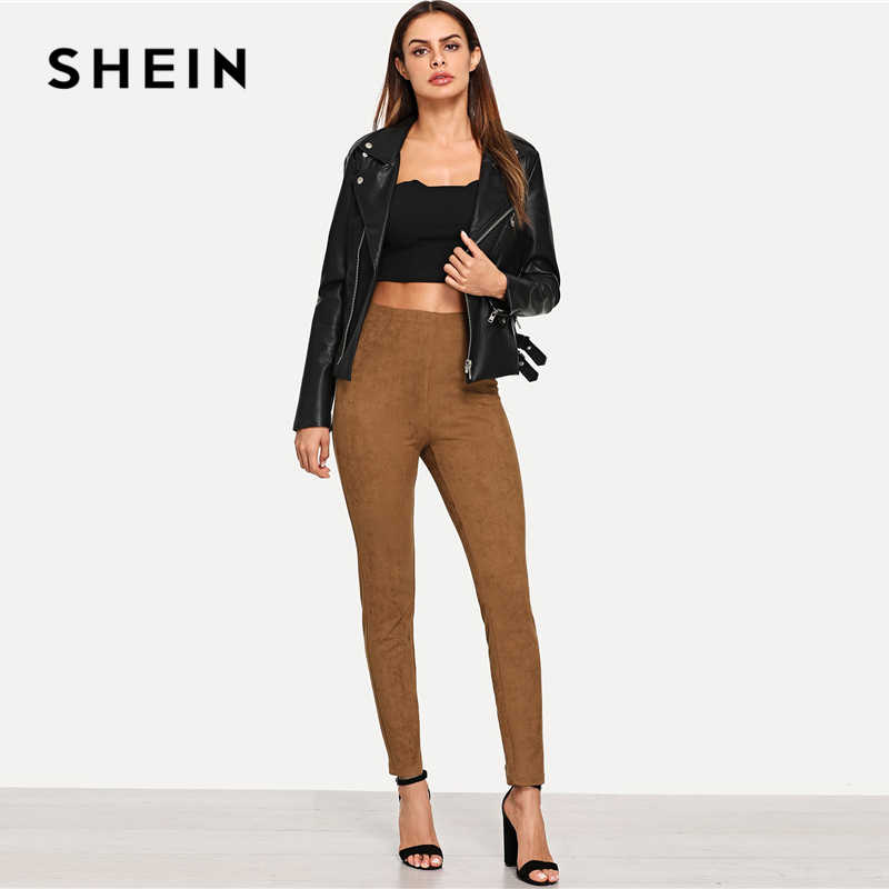 SHEIN สีน้ำตาล Elegant Office Lady หนังนิ่มผอม Leggings 2018 ฤดูใบไม้ร่วง Highstreet Workwear กางเกงผู้หญิงกางเกง