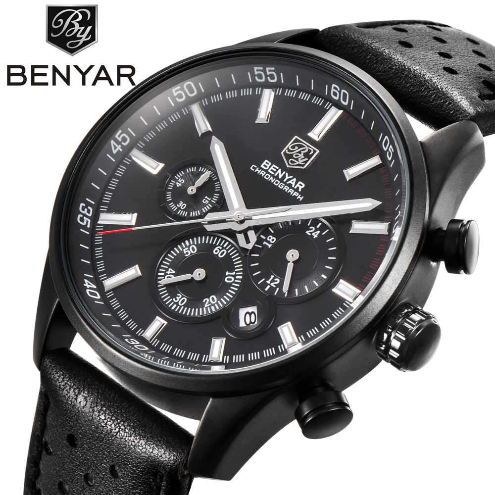 BENYAR Sport Chronograph Watches Men Luxury Brand Waterproof Genuine Leather Quartz Watch erkek kol saati Relogio Masculino brand pagani design luxury chronograph sport mens watches waterproof quartz military watch relogio masculino erkek kol saati