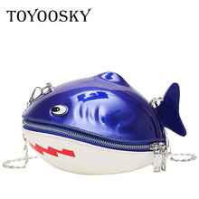 купить TOYOOSKY Cute Cartoon Shape Women Shoulder Bag Kawaii Shark Design Women Messenger Bag Fashion PU Leather Girls Funny Handbag по цене 1113.74 рублей