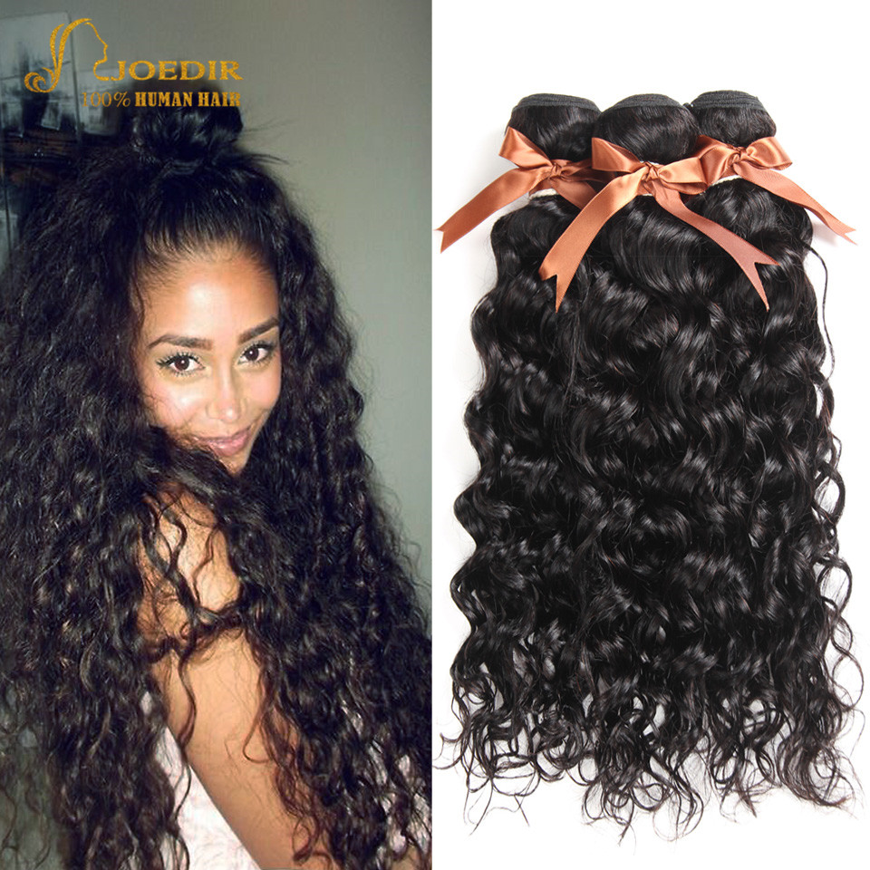 Joedir Human Hair Brazilian Water Wave 28 30 Inch Bundles Human Hair Weave Bundles Non Remy Hair Extensions Wet And Wavy Hair