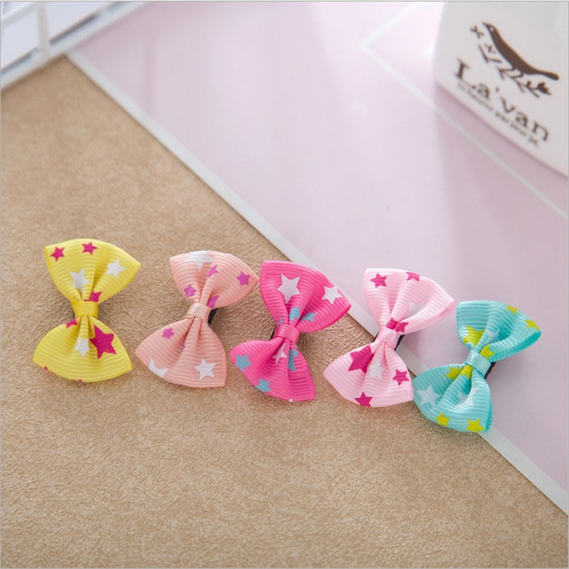 1PCS Lovely Star Small Bow Hairpin Hair Bands Toys For Girls Handmade Small Clips Headband Scrunchy Hair Accessories For Kids