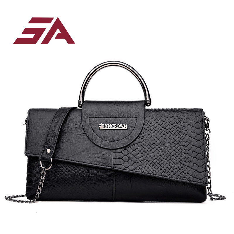 SA 2018 pu leather Women top-hand bag Messenger Bags Casual Clutch Ladies Handbag Female Crossbody Shoulder Bags business solid