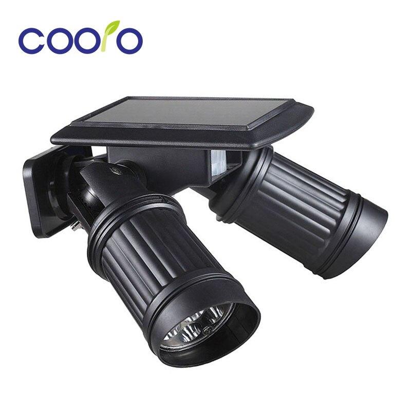 Новый движения PIR Сенсор свет светодиодный солнечные лампы поворотный двойной дурального головок безопасности бра для Открытый Garden