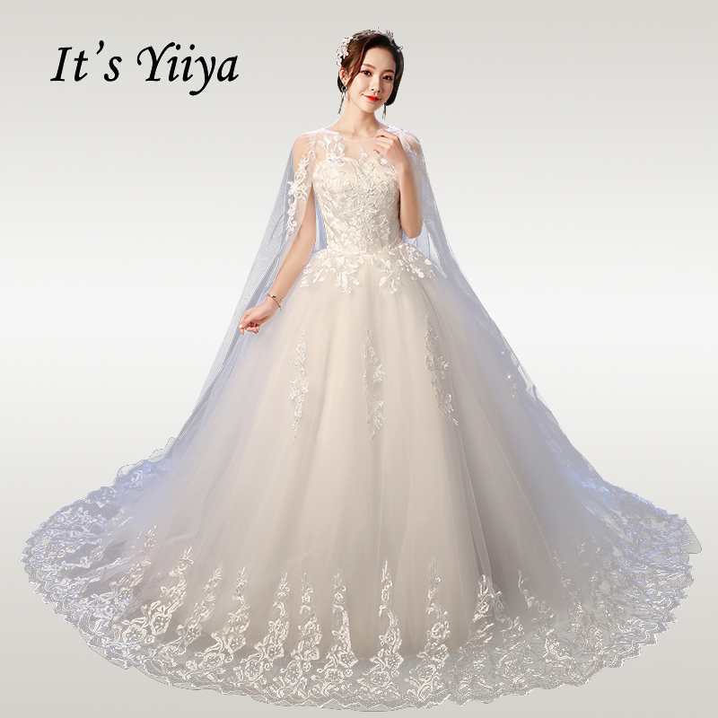 US $36.0 40% OFF|It\'s YiiYa Wedding Dresses Plus Size Elegant O neck  Wedding Dress Lace 2020 Plus Size Shawl Train Vestido de novia XXN237-in  Wedding ...