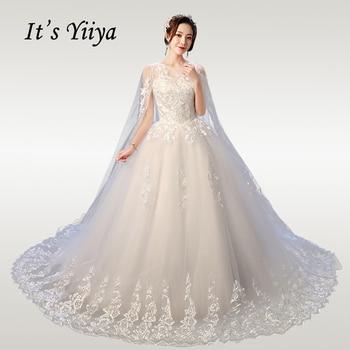 Its YiiYa Wedding Dresses Plus Size Elegant O-neck Dress Lace  2020 Shawl Train Vestido de novia XXN237