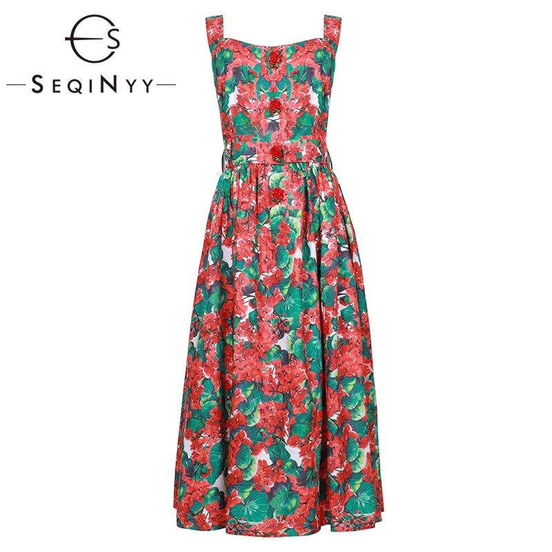 Seqinyy 패션 드레스 2020 여름 새로운 디자인 붉은 수국 꽃 인쇄 로즈 버튼 여성 backless 라인 미디 드레스-에서드레스부터 여성 의류 의  그룹 1