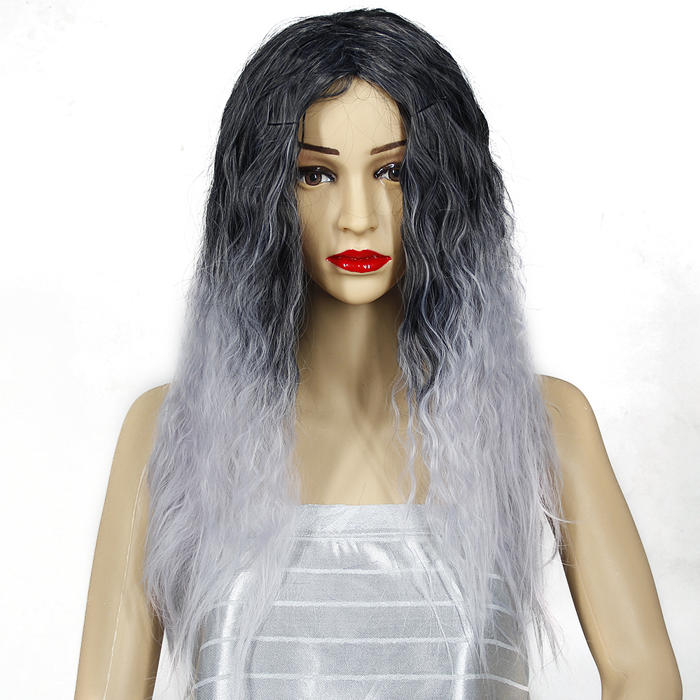 Long Grey Wig Cosplay Synthetic Heat Resistant Fiber Ombre Purple Red Hair Wigs For Wome ...