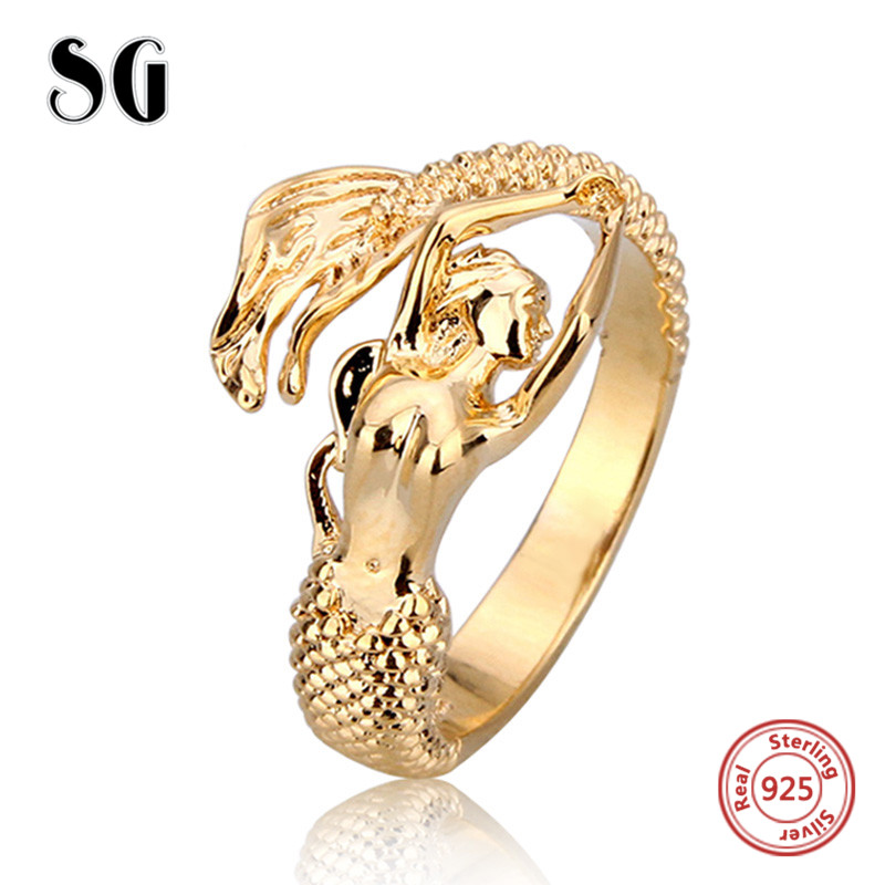 SG 2018 Authentic 100% 925 Sterling Silver Finger Gold color Mermaid Ring for Women Sterling Silver Jewelry Gift Free Delivery
