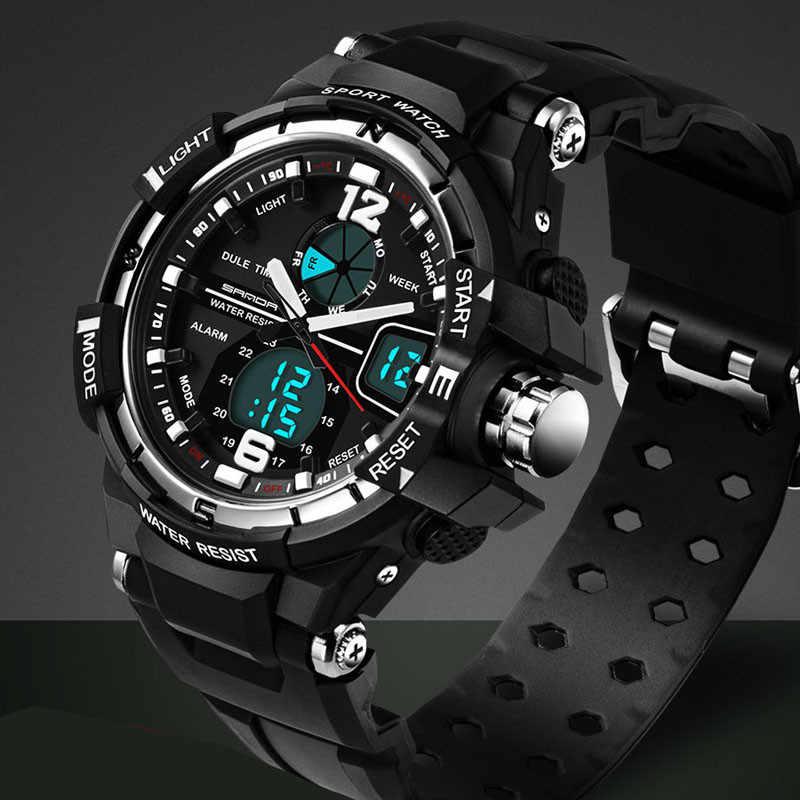SANDA G مقاوم للماء إنذار رجالي ساعات العلامة التجارية الفاخرة S-SHOCK الرقمية Led ساعة رياضية الرجال ساعة اليد Relogio Masculino