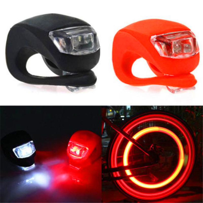 Bicycle accessories 2X Silicone waterproof strong Bike Bicycle Cycling Head Front Rear Wheel LED Flash Light Lamp 17612 P30