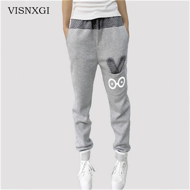 Fashion Deportes Women   Pant   Female Cotton   Capris   Cartoon Rabbit Fall Big Yards Casual Sweatpants Loose   Pant   Trousers Lady Jogger