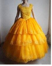 Envío gratis organza 100% real rizado amarillo brillo de danza de la princesa bola vestido de la belleza y bestia belle cosplay Renacimiento Belle Bola
