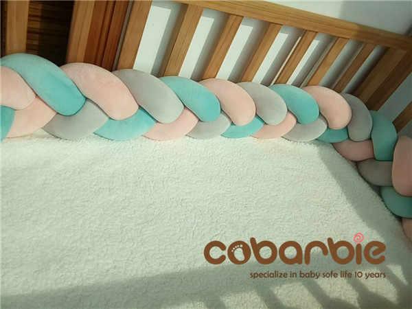 120cm bebé trenzado cuna parachoques nudo almohada cojín, ropa de cama de guardería, cuna dector