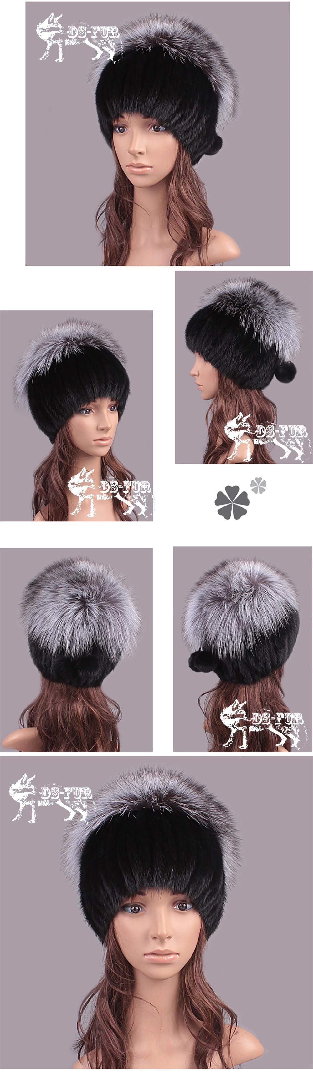 Mink fur knitting hat silver fox hair pom 01