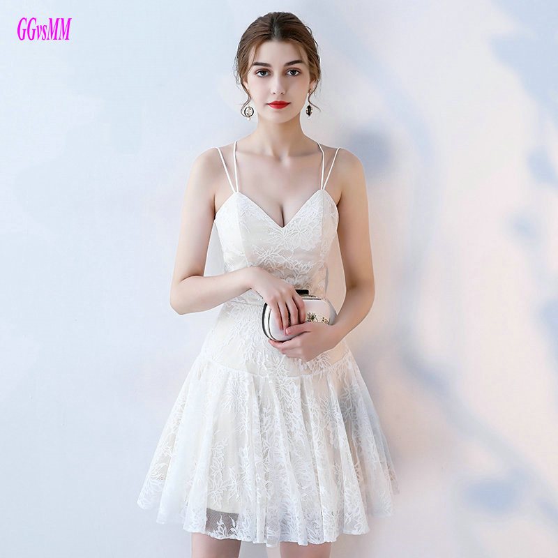 Gorgeous Ivory Lace   Cocktail     Dresses   2019 Sexy White Prom   Dress   Short Sweetheart Zipper Knee-Length Club   Cocktail   Party Gowns