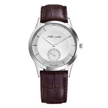 СОЛЛЕ мужские часы мужской стол ультра-тонкий водонепроницаемый кожаный часовой моды кварцевые часы отдыха и деловых SL9003