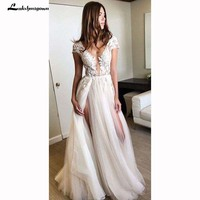Beach Wedding Dresses White Ivory Bridal Gowns Custom Made Tiered Tulle Wedding Dress Plus Size