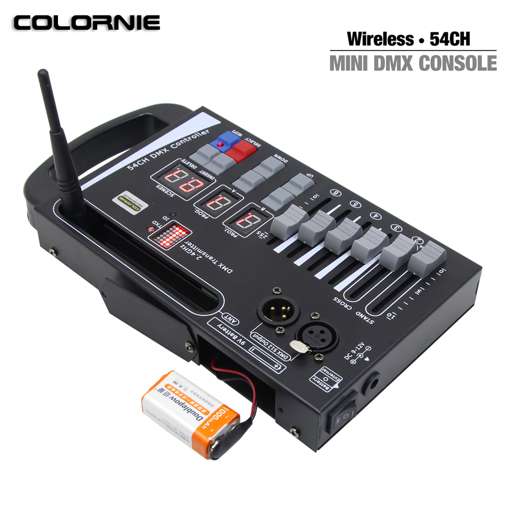 2019 New System LED Controller Wireless Dmx Console Use 9V Battery Control LED Move Stage Light