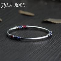 Fyla Mode Cloisonne Enamel Bangle 100 925 Sterling Silver Bracelet Bangle For Men Women Thai Silver