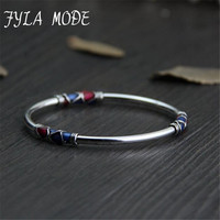 Fyla Mode Cloisonne Enamel Bangle 100 925 Sterling Silver Bracelet Bangle For Men Women Thai Silver