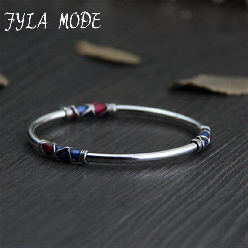 Fyla Mode Cloisonné Émail Bracelet 100% 925 En Argent Sterling Bracelet Bracelet Pour Hommes Femmes Thai Argent Bijoux PKY296