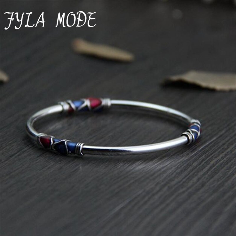 Fyla Mode Cloisonne Enamel Bangle 100% 925 Sterling Sølv Armbånd Bangle For Menn Kvinner Thai Sølv Smykker PKY296