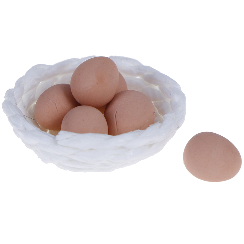 Simulation 1/12 Scale Dollhouse Miniature Chicken Eggs And Nest Set For Kids Kitchen Pretend Play Toy Micro Landscape