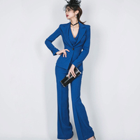 2018 3 Three Pieces Blazer Set One Button Jacket Double Breasted Vest Long Pant Women Wear
