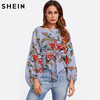 SHEIN Exaggerated Lantern Sleeve Belted Mixed Print Blouse Womens Long Sleeve Tops Autumn Blue Striped Floral Blouse