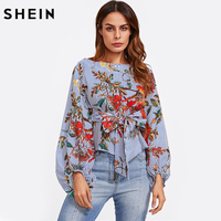 SHEIN Exaggerated Lantern Sleeve Belted Mixed Print Blouse Womens Long Sleeve Tops Autumn Blue Striped Floral