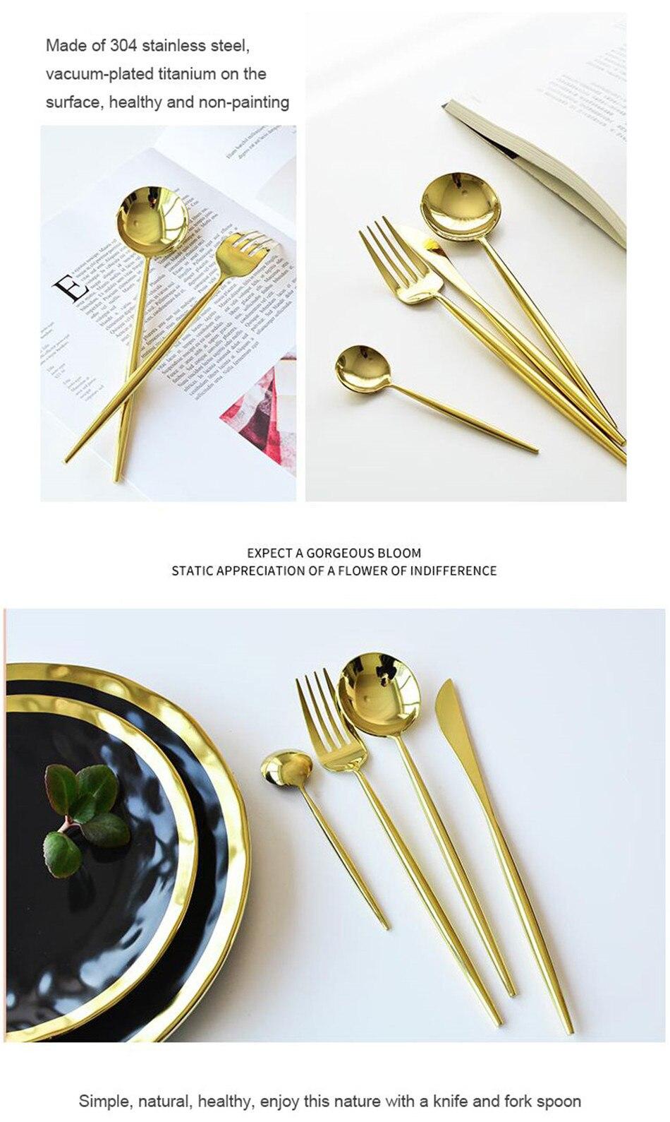 304 Stainless Steel Tableware Set Mirror Shining Rose Gold European Western Food Dinnerware Sets knife Forks Black Cutleries 4pc (4)