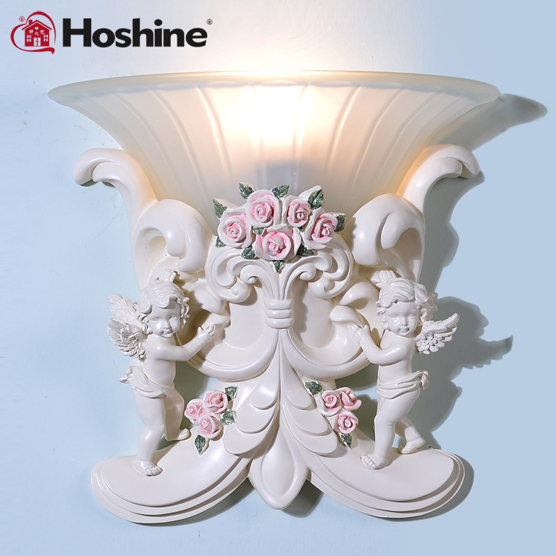 Hoshine New  Bedroom Decoration Led Wall Light  Home Vintage Wall Lamp European Cupid Angel  Sconce Glass Shade 110V 220V