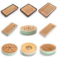 Ceramics Bamboo Tea tray Drainage Water storage Kung Fu Tea set room Board table Chinese tea cup ceremony tools Tea Set