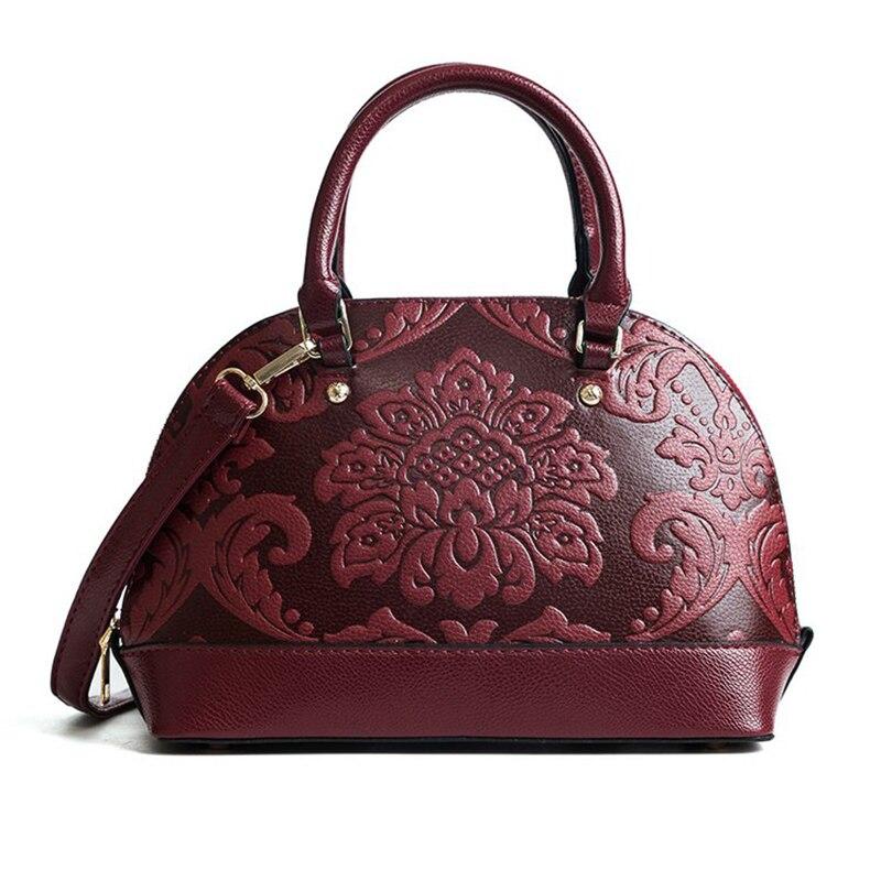 MENGXILU Vintage Women Leather Handbag 2018 Chinese Tote Bag Ladies Tote Bags  Women Embossing Printing Retro Designer ... 4ffa4ea004