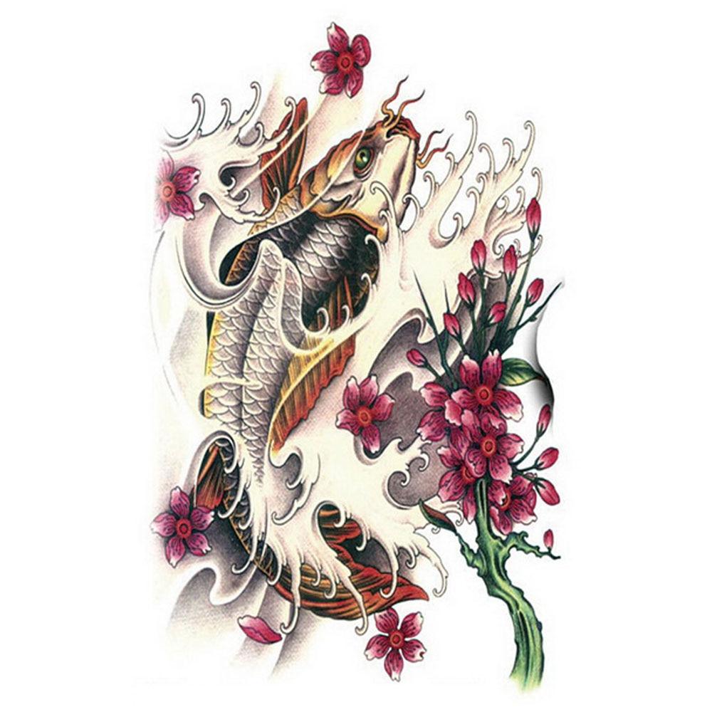 Yeeech temporary tattoos sticker for women men arm leg for Fake koi fish