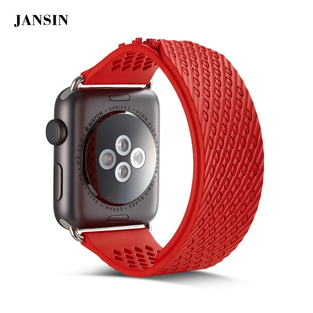 2017 new no buckle strap for Apple watch 38mm/42mm, JANSIN luxury silicone Sports Wristband for Apple watch band series 1/2/3 eache silicone watch band strap replacement watch band can fit for swatch 17mm 19mm men women