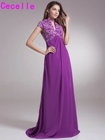 Purple A line Embroidery High Neck Chiffon Mother of Bride Dresses Formal Gowns Empire Waist V Neck Long Dresses For Mother