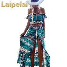 купить Laipelar Bohemian Two Piece Set Off Shoulder Sexy Crop Top High Waist Long Skirt Vintage Boho Women Suits Top and Skirt Sets дешево