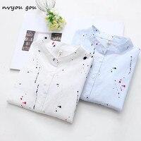 Nvyou gou Женская хлопковая белая блуза со стоячим воротником футболка с граффити 2019 Осенняя кнопка вниз Новая модная офисная рубашка