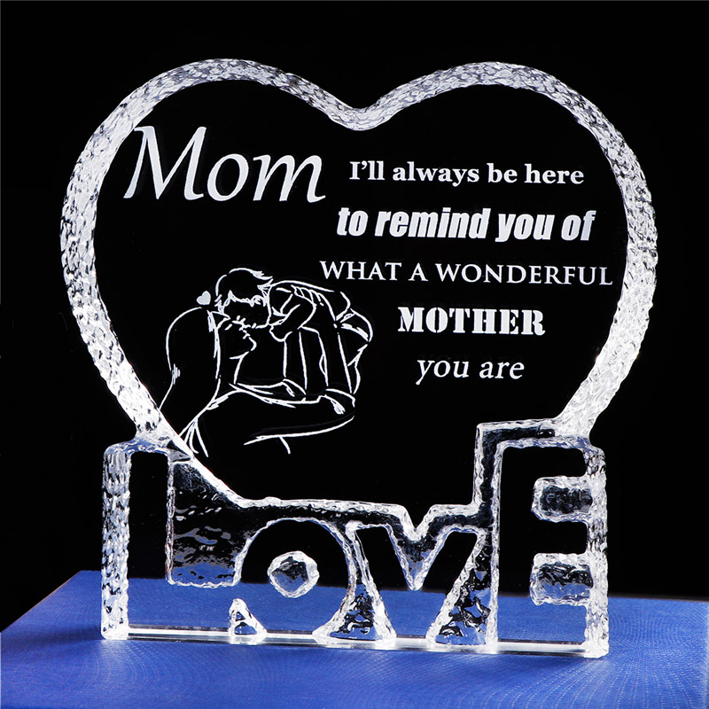 Gift for Mom Crystal Love Heart Present for Mother Laser Engraved Mom Gift From Daughter Keepsake