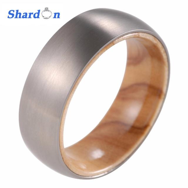Shardon 8mm Men S Anium Ring With Koa Wood Inlay Domed Engagement Matte Finished Wedding