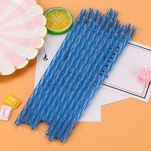 Set of Striped Plastic Straws