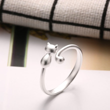 925 sterling silver rings cute cat Korea fashion for women jewelry birthday gift