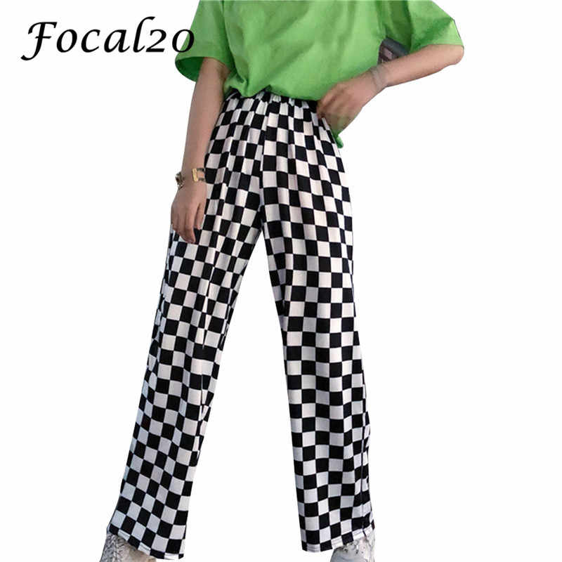 Focal20 Streetwear Plaid Women Pants Elastic Waist Full Length Checkered Black and White Casual Loose Straight Trousers