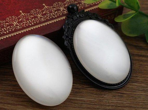 New Fashion 5pcs 30x40mm White  Color Flat Back Resin Cabochons Cameo V5-30