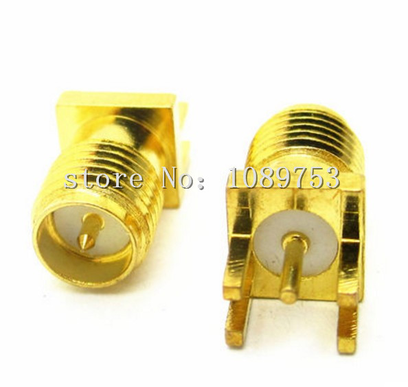 100Pcs Brass RP-SMA Male Plug Center Solder PCB Clip Edge Mount RF Connector for Mobile Signal Booster/Antennas/Coaxial Cables стоимость