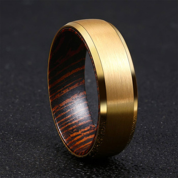 Gold Tungsten Ring with Bevelled Edges African Wenge Wood Sleeve Inside 1