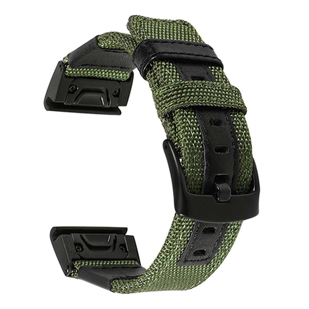 26mm Genuine Nylon + Leather Watchband for Garmin Fenix 5X / 3 / 3HR Quick Easy Fit Watch Band Stainless Steel Clasp Wrist Strap